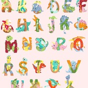 counted cross stitch pattern dinosaurs ABC alphabet 355*407 stitches CH2349