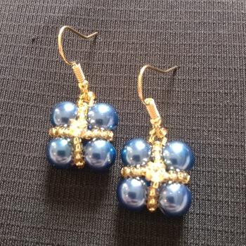 Handmade Blue Pearl Crystal Gold Criss Cross Square Earrings Jewellery