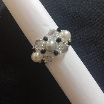 Handmade Grey White Pearl Crystal Vintage Ring Jewellery