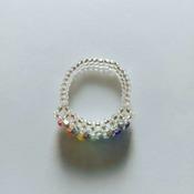 Handmade One Straight Crystal Rainbow Ring Jewellery