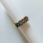 Handmade One Straight Crystal Colourful Ring Jewellery