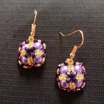 Handmade Purple Pearl Purple Crystal Gold Criss Cross Square Earrings Jewellery