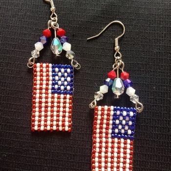 Handmade United States Flag Earrings Jewellery