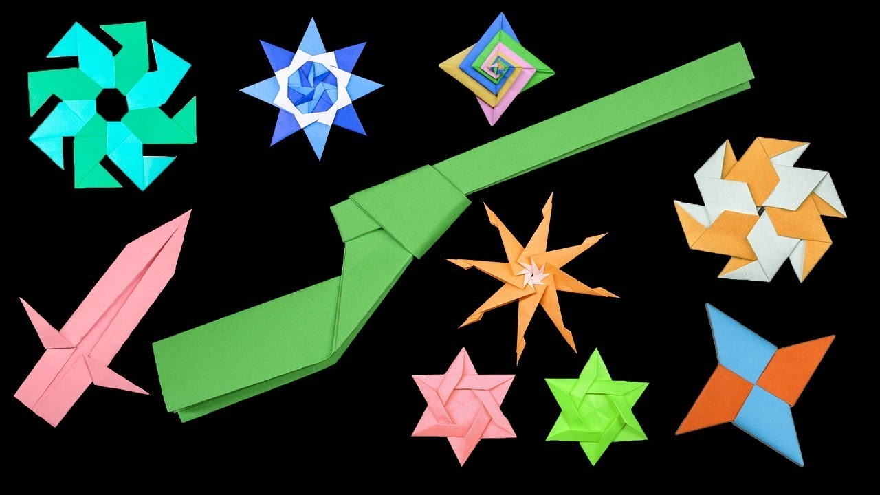 09 Easy #Origami Paper Ninja Star.Sword.gun - How to Make Step by Step