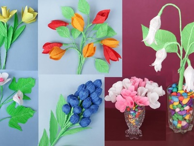 6 Easy Paper Flower || How to Make Beautiful Crepe Paper Flowers || Paper Craft