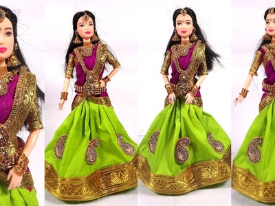 Barbie in Traditional HALF SAREE | How to make function and festival wear dresses for barbie dolls