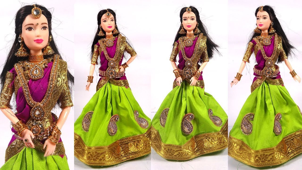 Barbie in Traditional HALF SAREE   How to make function and festival wear dresses for barbie dolls