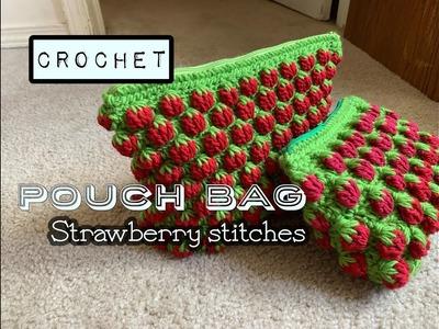 Crochet || Strawberry pouch stitch || how to crochet || Small bag
