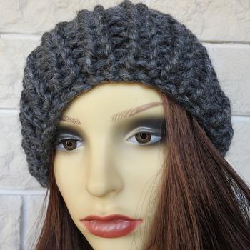 Dark Grey Winter Hat With A Black Pom Pom - Free Shipping