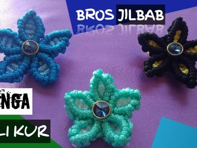 DIY - Cara Membuat Bros Jilbab Bunga Dari Tali kur. How to make flowers hijab brooch from rope