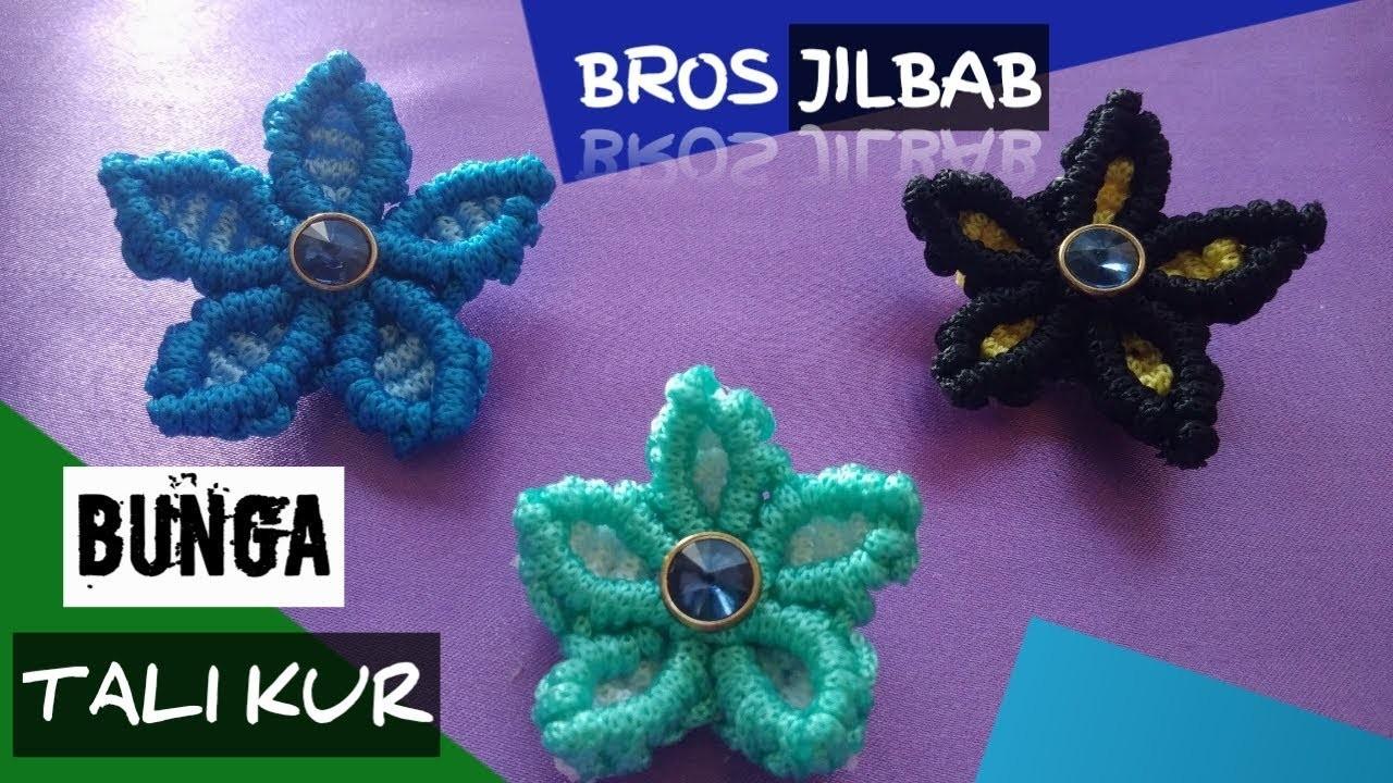 DIY - Cara Membuat Bros Jilbab Bunga Dari Tali kur. How to make flowers hijab brooch from rope