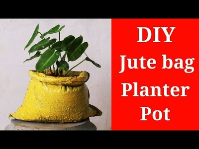 DIY | ❤️ Cement craft ideas | how to make artificial jute bag ???? planter pot with Cement❤️.