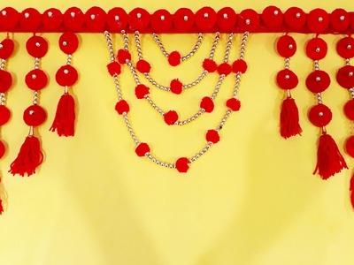 DIY easy woolen door hanging   How to make Door Hanging Toran   Woolen Craft Idea