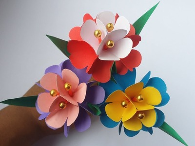 DIY: Paper Flower Stick!! How to Make Paper Flower for Home.Room Decoration!! Easy Paper Flowers!!