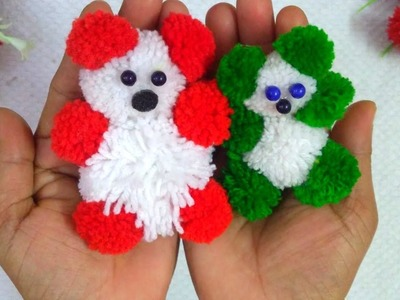 DIY.Pom Pom Teddy Bear With Wool.How To Make Woolen TEDDY BEAR Making At Home.Woolen Craft ideas