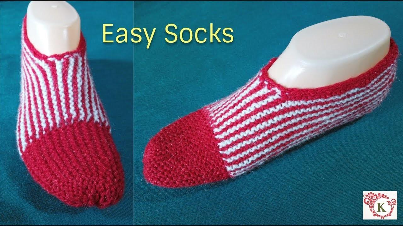Easy Socks knitting for Beginners || in hindi