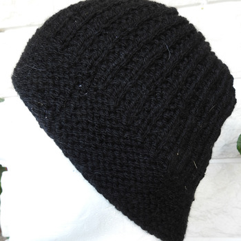 Hand Knitted Men's Black Beanie Style Ribbed Winter Hat - Free Shipping