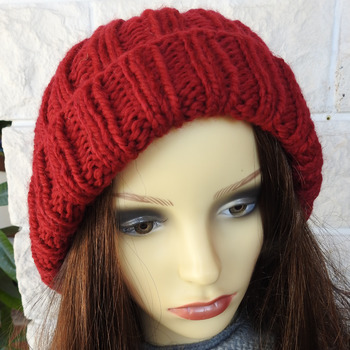 Hand Knitted Red Women's Two Style Winter Hat With White Pom Pom - Free Shipping