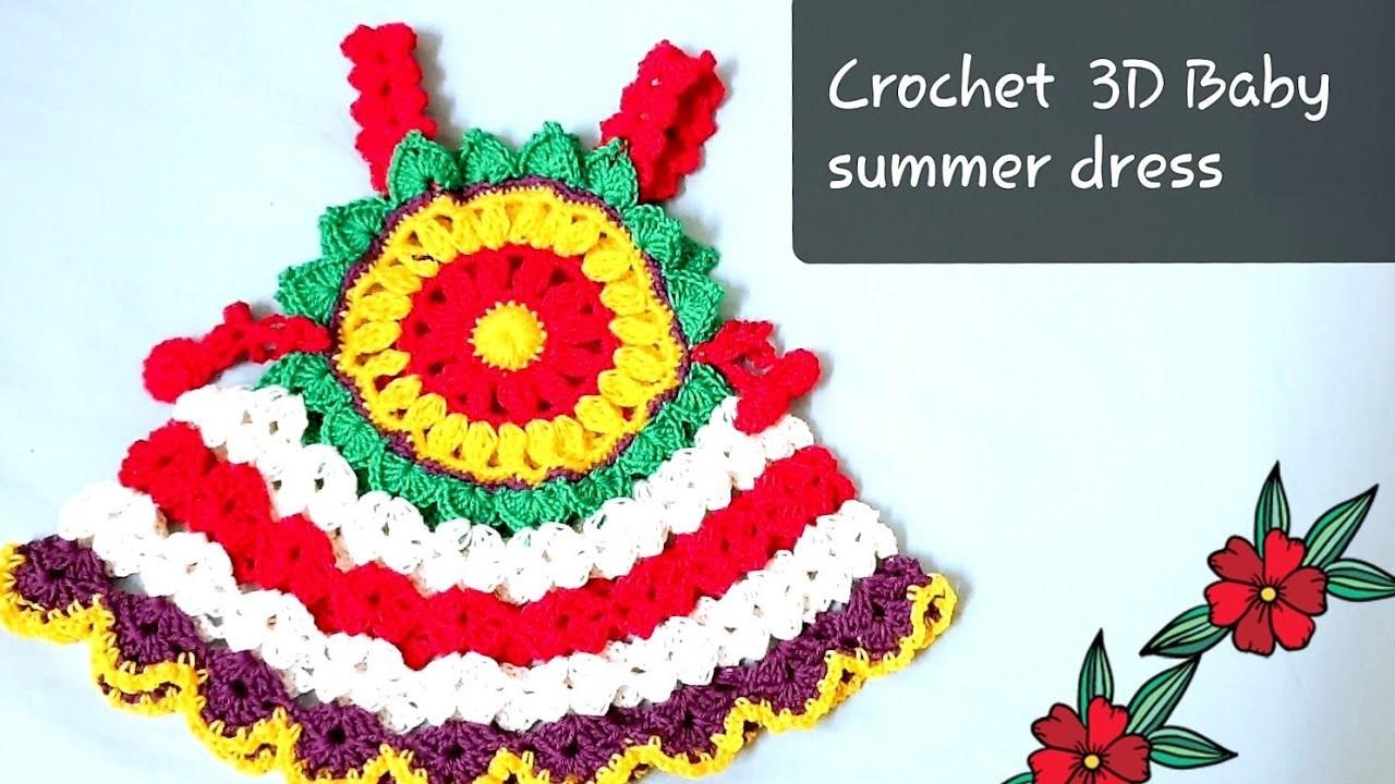 How to a crochet  big size flower.Crochet 3D summer baby dress tutorial (A)