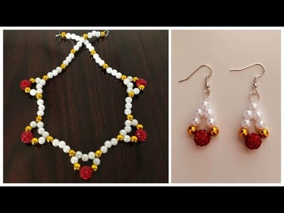 How To Make Beaded Jewellery At Home. Pearl Necklace and Earrings Tutorial