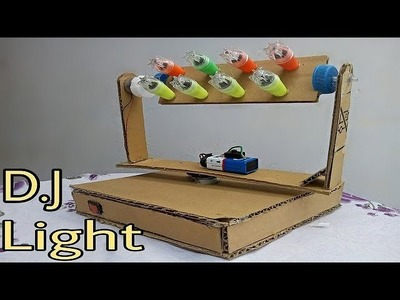 How to make Dj light at Home | using cycle led with cardboard Rotating Light easy.