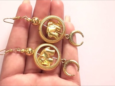 How to Make Golden Elephant & Pearl Earrings in 2 Minutes at Home || DIY|| Art with HHS