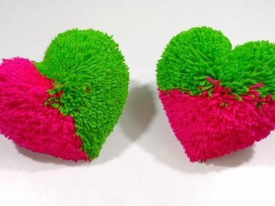 How to make heart shape pom pom heart gift for valentine's day multi colours pom pom hearts