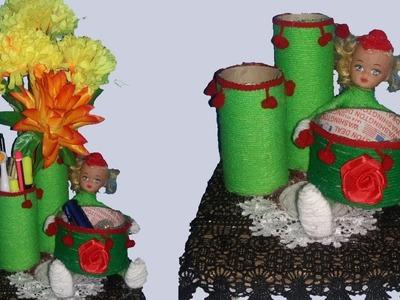 How to make pen holder with tissue roll ||new style flower vase||dustu pakhe