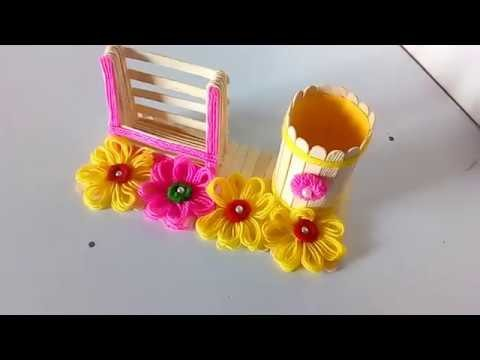 How to make pen, pencil and phone holder with ice cream stick!! hand made pen stand making