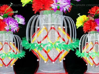 How to make plastic canvas flower Pot. Flower vase