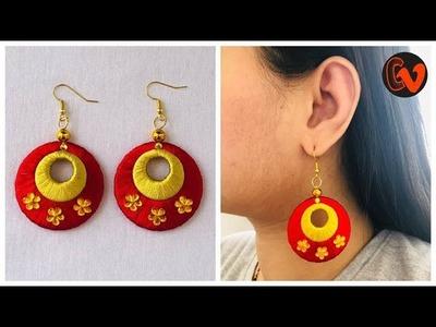 How To Make Silk Thread Earrings At Home | Silk Thread Jewellery Tutorial | Chandbali Earrings