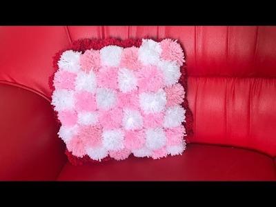 Pompom Sofa Pillow| How to make pompom cushion |DIY Pompom Sofa Pillow from woolen Thread