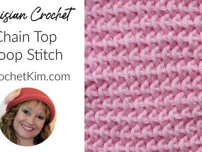 Tunisian Crochet Chain Top Loop Stitch Left Handed Tutorial by Kim Guzman