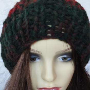 Women's Dark Multicoloured Ribbed Hat With A Cream Faux Fur Pom Pom - Free Shipping