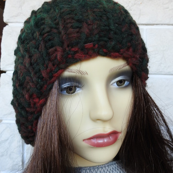 Women's Dark Multicoloured Ribbed Winter Hat With A Brown Pom Pom - Free Shipping