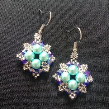 Handmade Blue Pearl Crystal Diamond Shape Earrings Jewellery