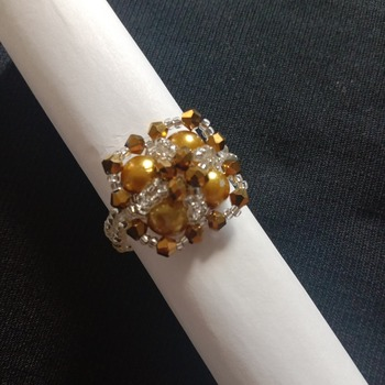 Handmade Golden Pearl Crystal Silver Criss Cross Square Ring Jewellery