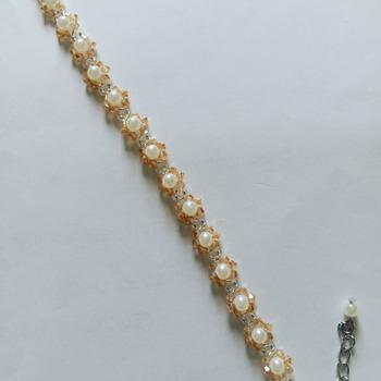 Handmade White Pearl Champagne Crystal Flowers Bracelet Jewellery