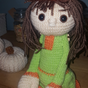 Hand knitted autumn pumpkin doll winter fall halloween