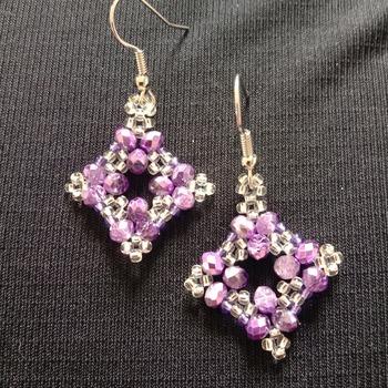Handmade Purple Crystal Silver Diamond Shape Earrings Jewellery