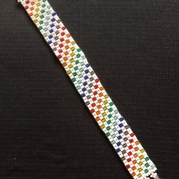 Handmade Rainbow White Twill Stripes Bracelet Jewellery