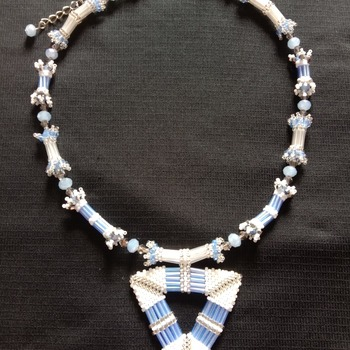 Handmade White Blue Silver Crystal Triangle  Necklace Jewellery