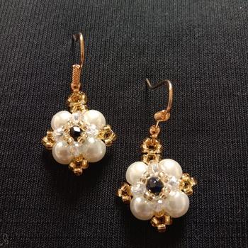 Handmade White Pearl Black Crystal Square Earrings Jewellery
