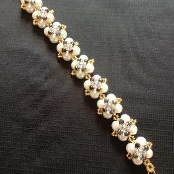 Handmade White Pearl Black Crystal Gold Square Bracelet Jewellery