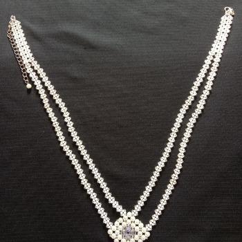 Handmade White Pearl Diamond Shape Double Line Necklace Jewellery