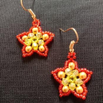 Handmade Yellow Red Star Earrings Jewellery