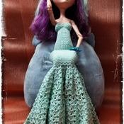 PATTERN: 17 inch EAH/MHD/BjD Flamenco Inspired Crochet Gown Dress by GothDollie
