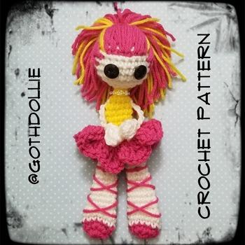 PATTERN: Amigurumi (FLAT) Ballerina Doll by GothDollie  *BODY IS FLAT
