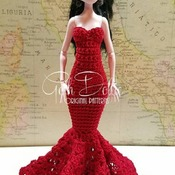 PATTERN: MHD Flamenco Inspired Crochet Gown Dress by GothDollie  For Monster high dolls (regular body size, approx. 11.5 inches tall)