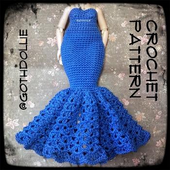 PATTERN: RH Doll  Addy Crochet Gown by GothDollie